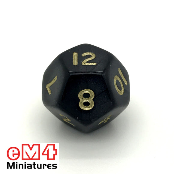 Pearl Black D12 Poly Dice