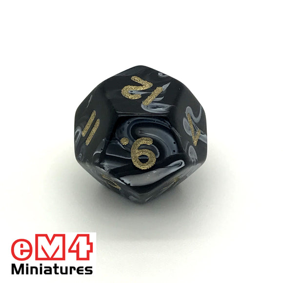 Marble Black D12 Poly Dice