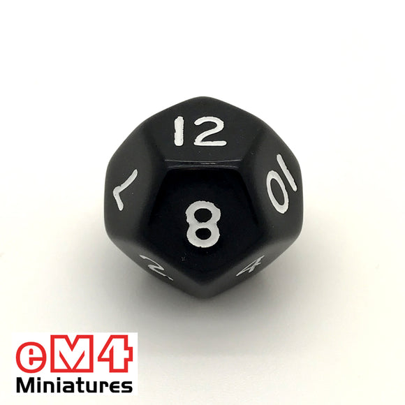 Opaque Black D12 Poly Dice