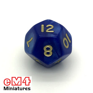 Pearl Blue D12 Poly Dice