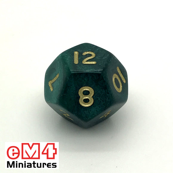 Pearl Green D12 Poly Dice