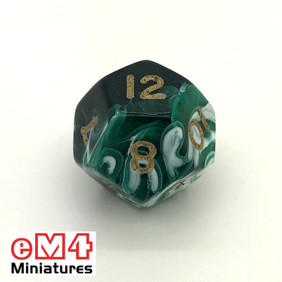 Marble Green D12 Poly Dice