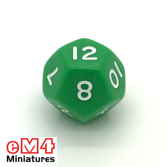 Opaque Green D12 Poly Dice