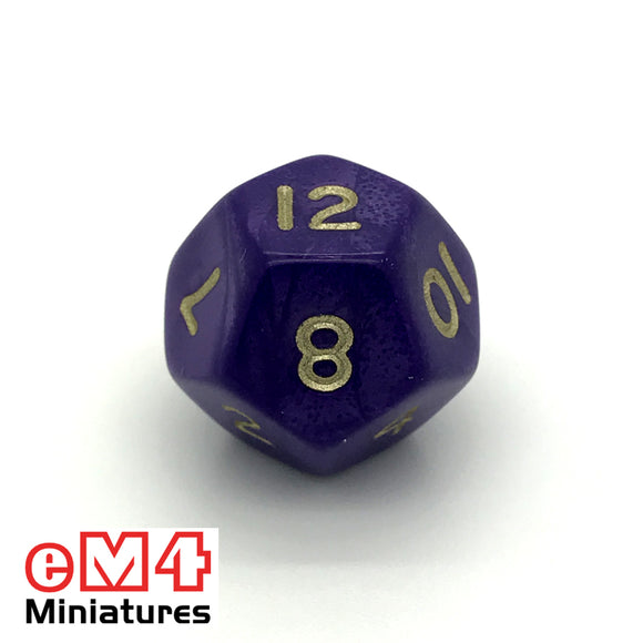Pearl Purple D12 Poly Dice