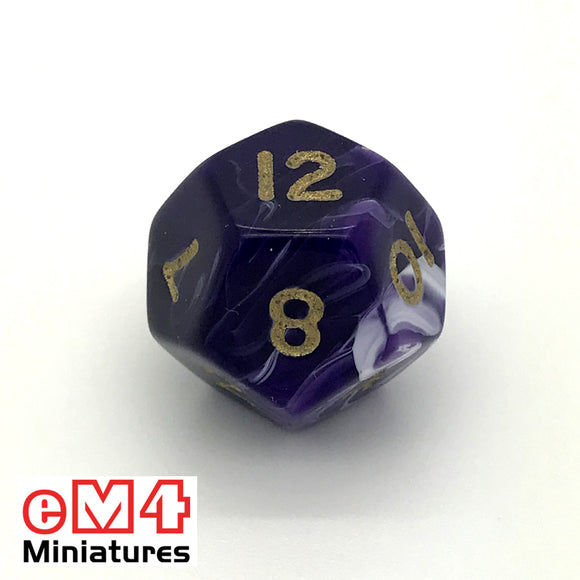 Marble Purple D12 Poly Dice