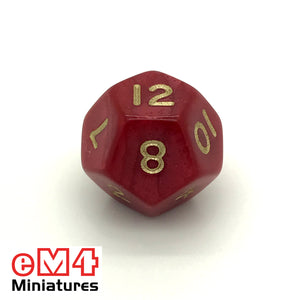 Pearl Red D12 Poly Dice
