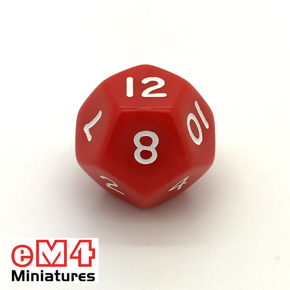 Opaque Red D12 Poly Dice