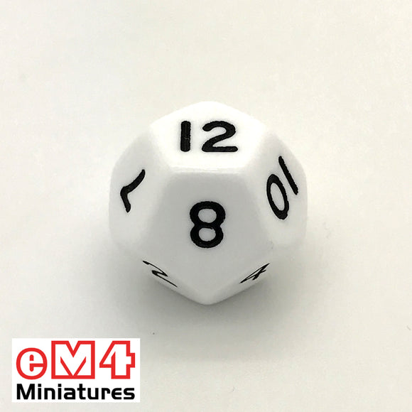Opaque White D12 Poly Dice