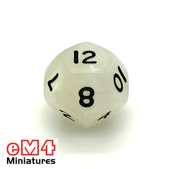 Pearl White D12 Poly Dice
