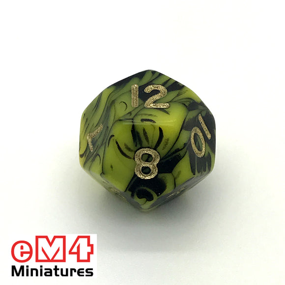 Oblivion Yellow D12 Poly Dice