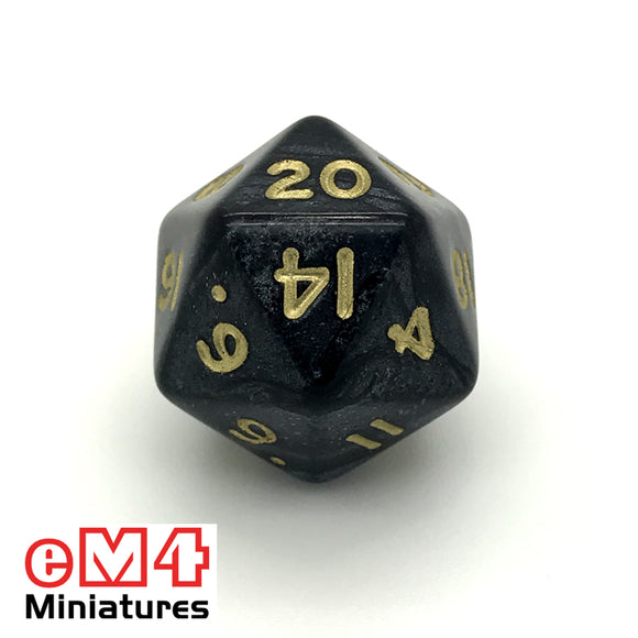 Pearl Black D20 Poly Dice