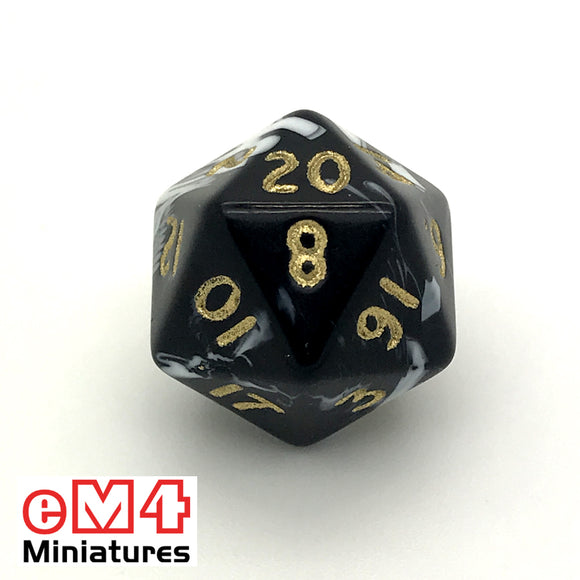 Marble Black D20 Poly Dice