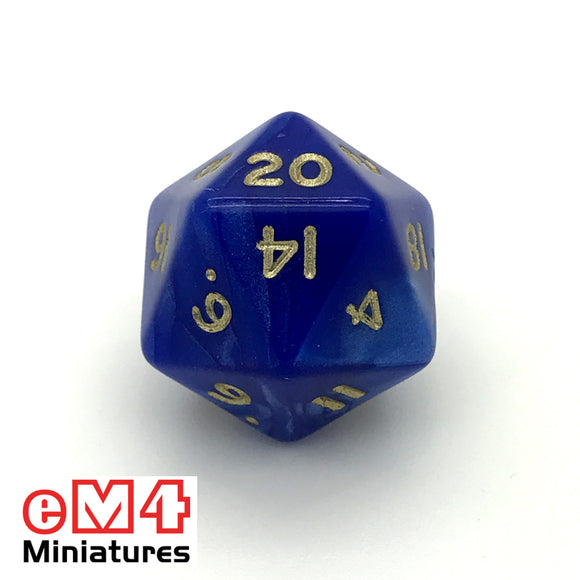 Pearl Blue D20 Poly Dice