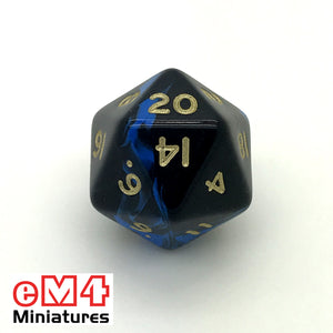 oblivion Blue D20 Poly Dice