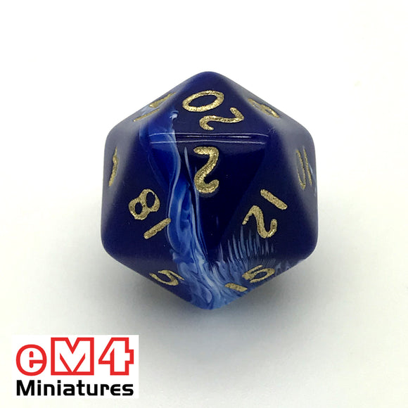 Marble Blue D20 Poly Dice
