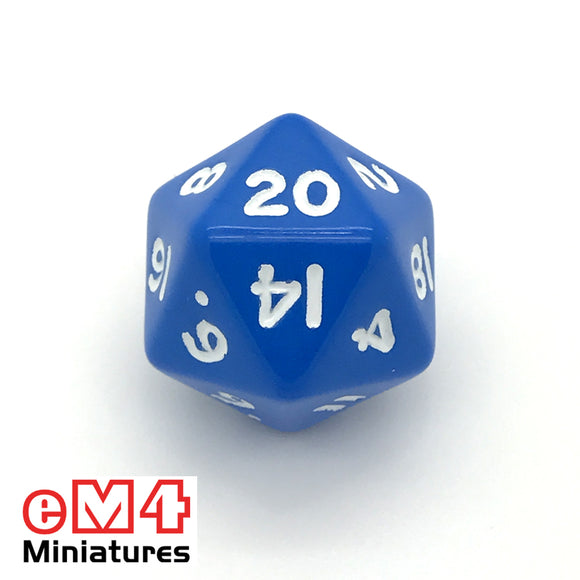 Opaque Blue D20 Poly Dice