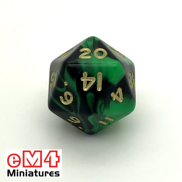 Oblivion Green D20 Poly Dice