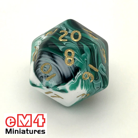Marble Green D20 Poly Dice