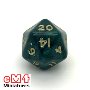 Pearl Green D20 Poly Dice