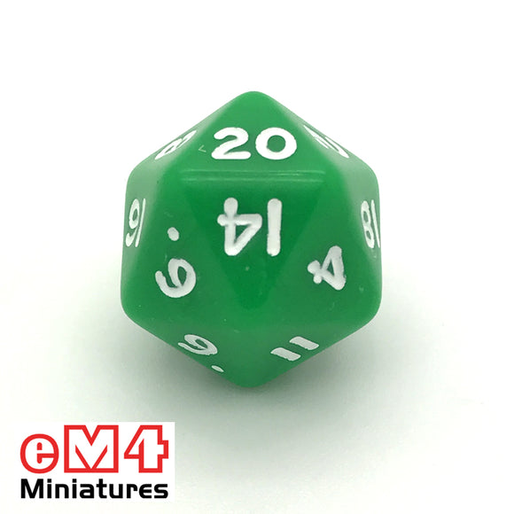 Opaque Green D20 Poly Dice