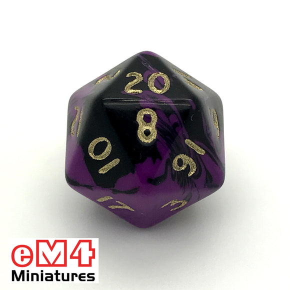 Oblivion Purple D20 Poly Dice