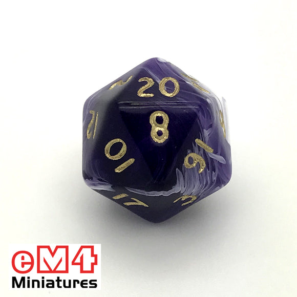 Marble Purple D20 Poly Dice