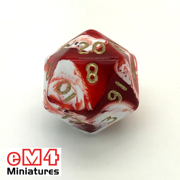 Marble Red D20 Poly Dice