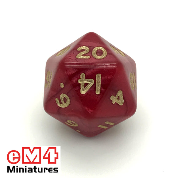 Pearl Red D20 Poly Dice