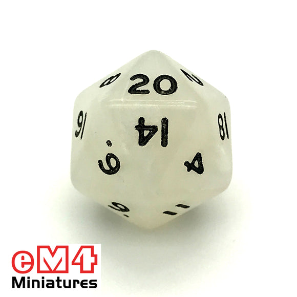 Pearl White D20 Poly Dice