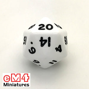 Opaque White D20 Poly Dice