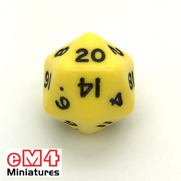 Opaque Yellow D20 Poly Dice