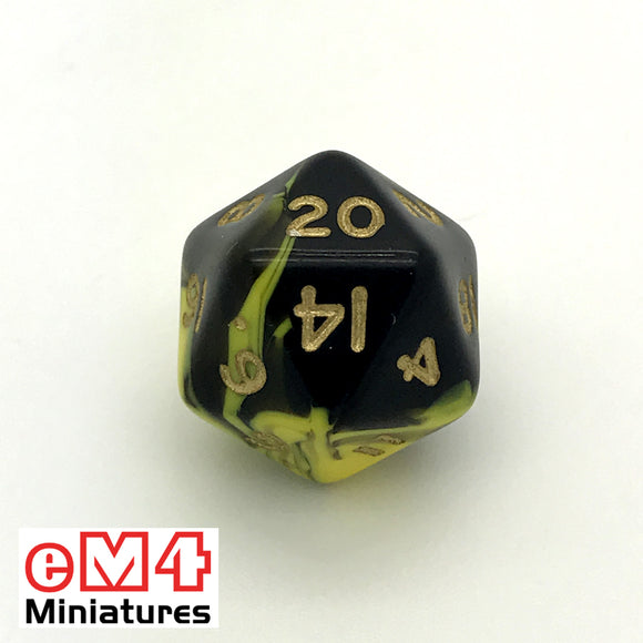 Oblivion Yellow D20 Poly Dice