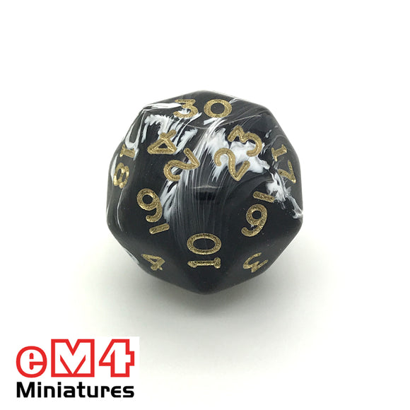 Marble Black D30 Poly Dice
