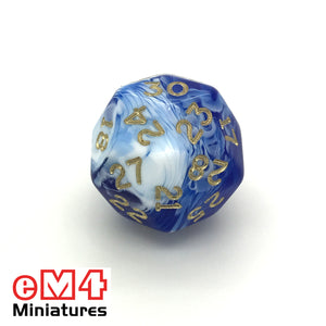 Marble Blue D30 Poly Dice