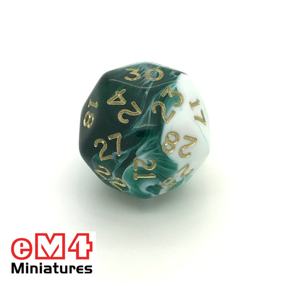 Marble Green D30 Poly Dice