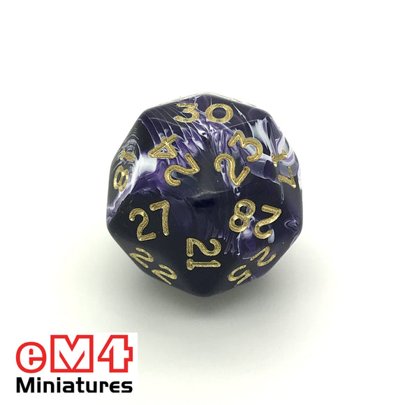 marble Purple D30 Poly Dice