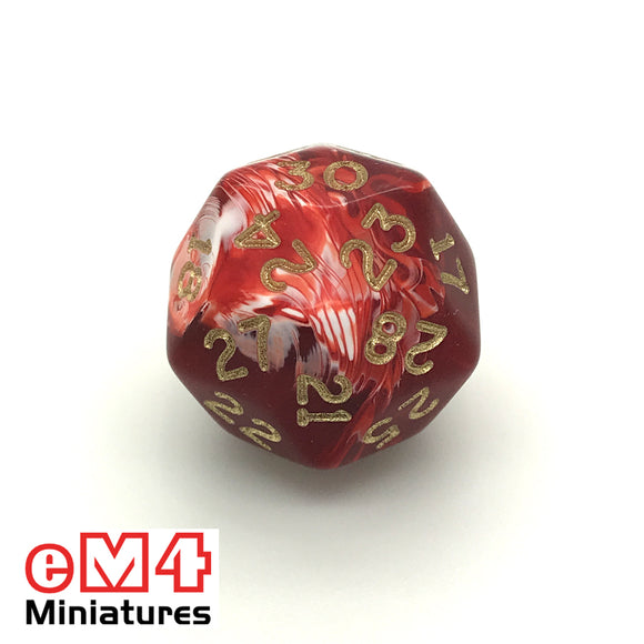 Marble Red D30 Poly Dice
