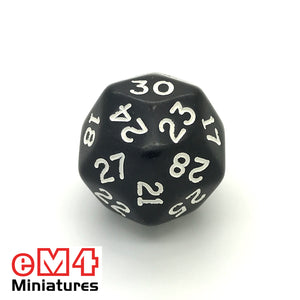 Opaque Black D30 Poly Dice