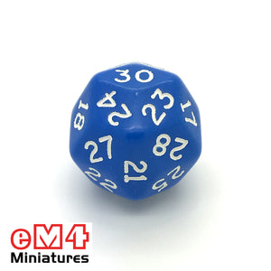 Opaque Blue D30 Poly Dice