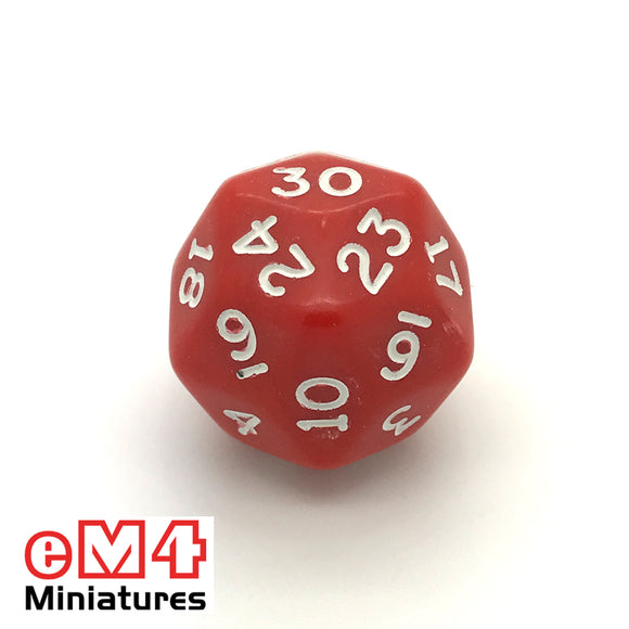Opaque Red D30 Poly Dice