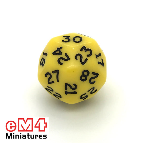 Opaque Yellow D30 Poly Dice