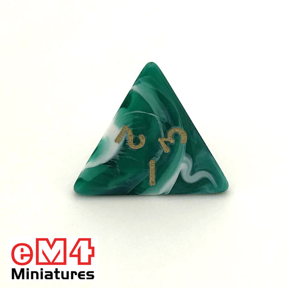 Marble Green D4 Poly Dice