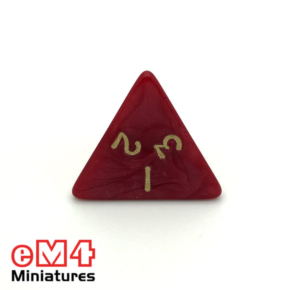 Pearl ,red D4 Poly Dice