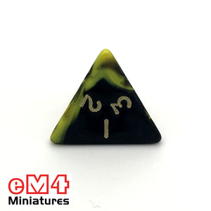 Oblivion Yellow D4 Poly Dice