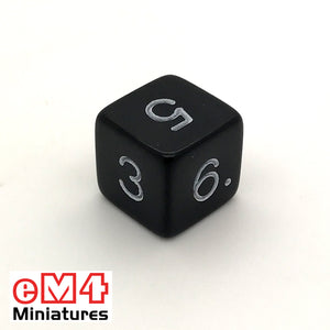 Opaque Black D6 Poly Dice