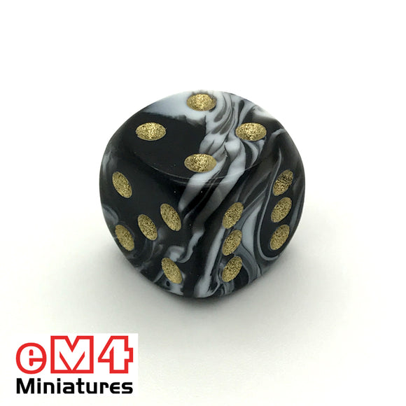 15mm D6 Black Marble Spot Dice x 10
