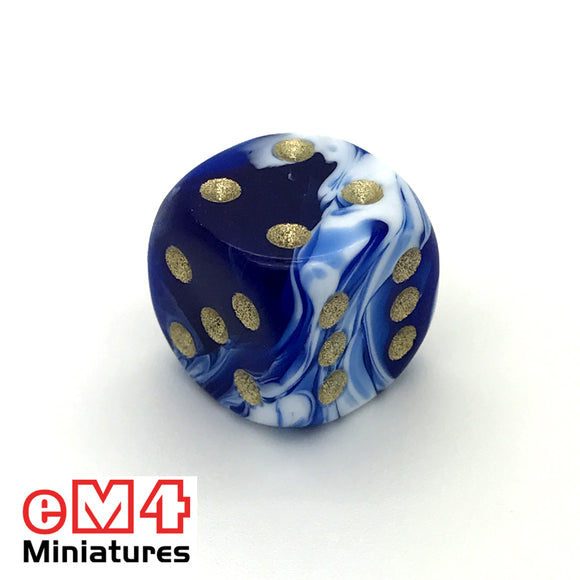 15mm D6 Blue Marble Spot Dice
