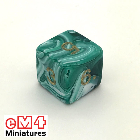 Marble Green D6 Poly Dice