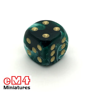 15mm D6 Marble Spot Dice - Green x 10