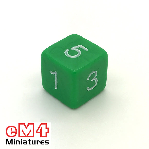 Opaque Green D6 Poly Dice